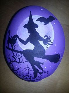 Items similar to SALE - OFF! Hand painted stone Halloween Sillhouette Witch Design on Etsy Pebble Painting, Pebble Art, Stone Painting, Halloween Rocks, Halloween Crafts, Scary Halloween, Stone Crafts, Rock Crafts, Rock Painting Designs