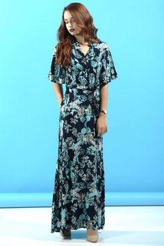 Turkuaz Çiçek Desenli Uzun Elbise  #giyim #indirim #kampanya #bayan #erkek #bluz #gömlek #trençkot #hırka #etek #yelek #mont #kaşe #kaban #elbise #abiye #büyükbeden #tunik #tulum #askılı #kapri #şort #pantolon #yenisezon #moda
