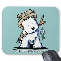 KiniArt Fishing Westie Mousepad  Click on photo to purchase. Check out all current coupon offers and save! http://www.zazzle.com/coupons?rf=238785193994622463&tc=pin