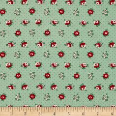 Spring Showers Dotted Flowers Green/Red from @fabricdotcom  Designed by Kaye England and licensed to Wilmington Prints, this cotton print fabric is perfect for quilting, apparel and home decor accents. Colors include red, white and green.