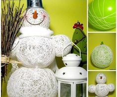 How to make a snowman without using snow?  Cute String Snowman with balloons--> http://wonderfuldiy.com/wonderful-diy-creative-string-snowman-with-balloon/