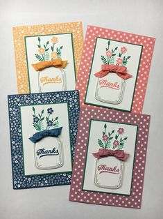 www.juststampin.com Stampin' Up! Gift set of cards, Thank you cards, Jar of…