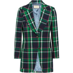 Gucci Embellished tartan wool blazer (218.195 RUB) ❤ liked on Polyvore featuring outerwear, jackets, blazers, wool jacket, blazer jacket, plaid wool jacket, plaid blazer and letter jacket