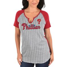 Philadelphia Phillies Majestic Women's From the Stretch V-Notch T-Shirt - Gray/Red