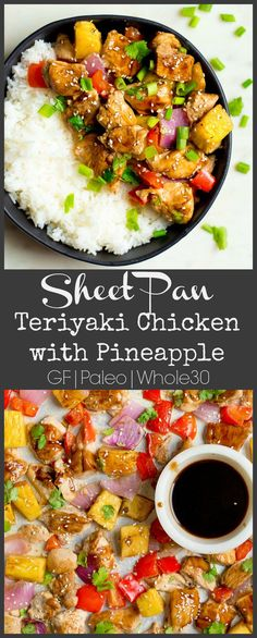 Sheet Pan Teriyaki Chicken with Pineapple is where weeknight, one-pan meal, ease meets scrumptious and healthy dinner! Naturally sweetened, packed with flavor, and full of nutritious ingredients. The whole family will love this dinner! Paleo Whole 30, Whole 30 Recipes, Teriyaki Pineapple Chicken, Healthy Teriyaki Chicken, Cena Paleo, Clean Eating, Recipe Sheets, One Pan Dinner, One Pan Meals