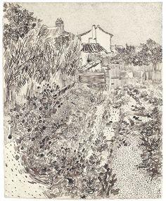 """Vincent Van Gogh, Cottage Garden (1888) CurkovicArtUnits / """"Make You Mark"""" - Line Drawings"""