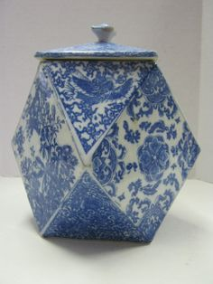 Blue and White Transferware Patterns | Blue & White Transferware Porcelain Hexagonal Shaped Biscuit Jar from ...