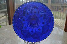 """Rare Stunning Cobalt Blue EAPG 8 Footed Deep Plate Intricate Design 8.75""""X 1.25"""""""