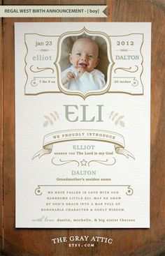 """Birth Announcement by The Gray Attic - A9 size (Baby Boy - """"Regal West"""") - Set of 25 - Modern, Western"""