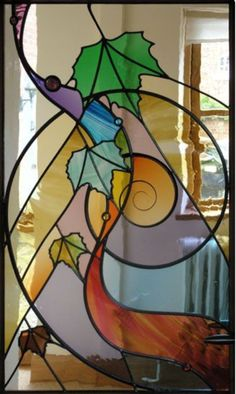 stained glass of leaves in spiral