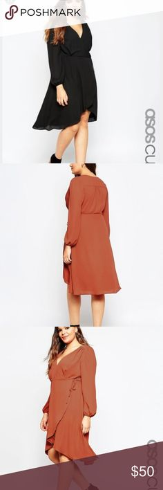 ASOS Curve Midi Tie Wrap Dress NWT 16 Black NWT Color is black. Lowball offers will be ignored/declined/blocked. No trades. ASOS Curve Dresses Midi
