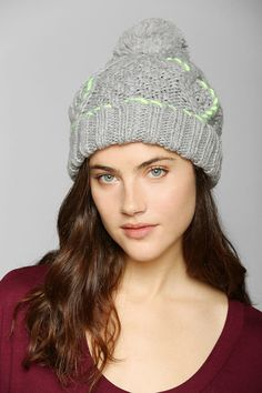 40ccfcf6ade Neon-Stitch Pompom Beanie - Urban Outfitters Urban Outfitters