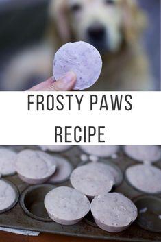 How to Make Homemade Frosty Paws Recipe (Frozen Dog Treats) - New Ideas Puppy Treats, Diy Dog Treats, Homemade Dog Treats, Healthy Dog Treats, Dog Biscuit Recipes, Dog Treat Recipes, Dog Food Recipes, Recipe Treats, Frosty Paws Recipe