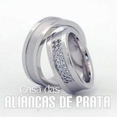Alianca de namoro, Peso aproximado: 18 gramas o par  Largura: 7.0 mm  Pedra: 20 Zirconias  http://casadasaliancasdeprata.com.br/
