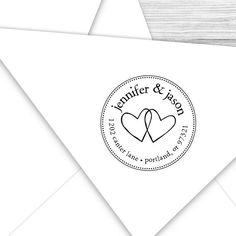 Custom Wedding hearts return address stamp