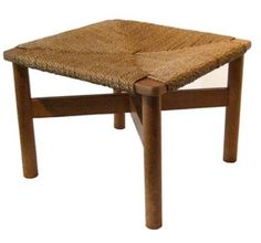 Furniture: Vintage Japanese Stool with Woven Seat