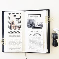 June Travelers Notebook by mamaorrelli at Studio Calico Scrapbook Journal, Journal Layout, Travel Scrapbook, Memory Journal, Photo Journal, Notebook Sketches, Creative Journal, Book Projects, Bullet Journal Inspiration