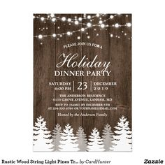 Rustic Wood String Light Pines Tree Holiday Party