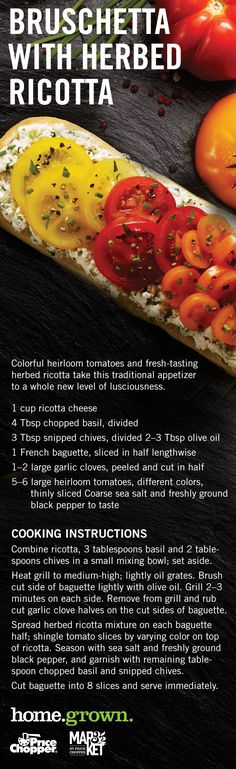 Bruschetta with Herbed Ricotta French Baguette, Grill Pan, Bruschetta, Ricotta, Basil, Grilling, Artisan, Appetizers, Fresh
