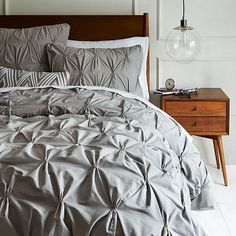 Organic Cotton Pintuck Duvet Cover + Shams - Feather Gray #westelm add kelly green accent throw and pillows