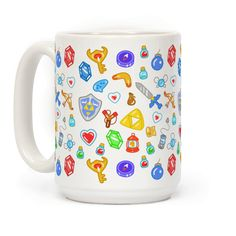 Zelda Items Pattern - Keep all your important weapons and gadgets nearby with this nerdy, Legend of Zelda inspired, gamer, video game, inventory pattern coffee mug! Just In Case, Just For You, Nintendo, Pokemon, Geek Out, Mug Cup, Legend Of Zelda, Coffee Mugs, Video Games