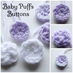 Baby Puffs Buttons ~ FREE Crochet Pattern ~ finished size ~ add to head band, etc. Crochet Birds, Crochet Buttons, Crochet Bebe, Thread Crochet, Crochet For Kids, Crochet Crafts, Crochet Flowers, Free Crochet, Crochet Stitches