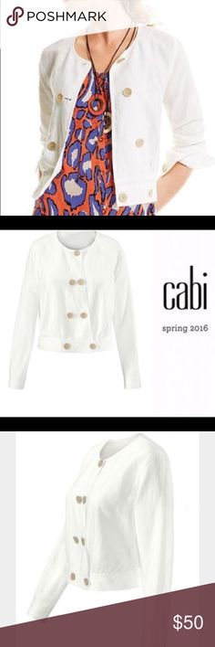 CAbi Spring 2016 - Piazza Jacket SMALL 71% Lyocell, 29% Linen The perfect light spring topper, the Piazza Jacket is made from the same linen blend as cabi's Piazza Pant. This vintage-inspired jacket has custom designed buttons reminiscent of seashells. This symmetrical button closure style is topped off with a single button at neckline and a band at the bottom of the hem. CAbi Jackets & Coats Blazers