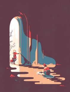Illustration by tom Haugomat | The way he composes the images and colours creates a sense of drama. Check out his other works also.