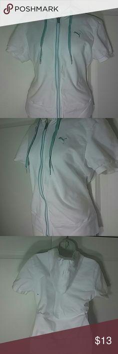 Puma white short sleeve polo athletic sweatshirt White and  powder blue striped short sleeve zipper hoodie sweatshirt Puma Tops Sweatshirts & Hoodies