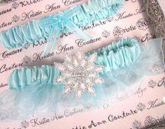 Tiffany Blue Snowflake Bridal Garter Set- Organza Bridal Garter Set in Tiffany Blue - Great for Winter Wedding
