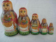 Matryoshka Russian Nesting Dolls 5 Piece Set Hand Painted Folk Art Farm Signed | eBay
