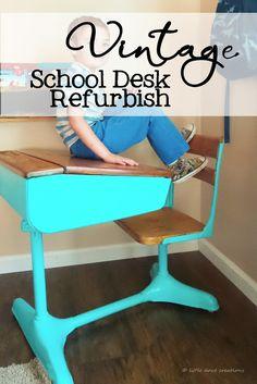 little dove creations vintage school desk refurbish