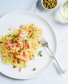 smoked salmon capellini with lemon, dill & capers