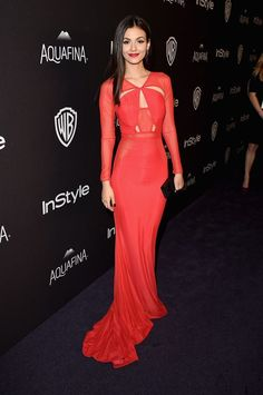 Victoria Justice in Bao Tranchi at the post-Golden Globes party by InStyle / Warner Bros. Pictures #red