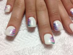 White gel with nail art