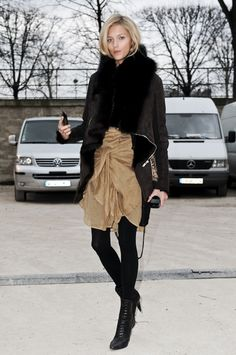 Black & Tan Soft tan flowy chiffon skirt juxtiposed with structured blk silhouette jacket