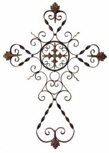 Parigi Wall Cross - Traditional ornate perigee dimensional wall cross in wrought iron. Material: Wrought iron x Crosses Decor, Wall Crosses, Metal Crosses, Outdoor Wall Art, Outdoor Walls, Indoor Outdoor, Outdoor Areas, Old Rugged Cross, Sign Of The Cross