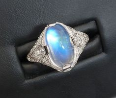 Art Deco Tiffany & Co Moonstone & Diamond Ring set in Platinum, circa 1920s