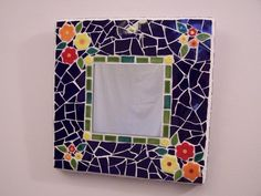 Small floral mosaic mirror by Kathy Franklin