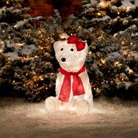 their frosty furry look makes these lighted outdoor polar bears especially appealing - Outdoor Polar Bear Christmas Decorations