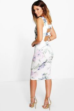 Annie Floral Open Back Detail Midi Dress