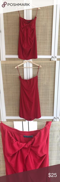 Velvet seed strapless dress Strapless red dress is in great condition. You can dress it up or wear it as an every day dress! Velvet Dresses Strapless