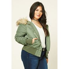 cdf7572459e Forever21 Plus Size Hooded Bomber ( 45) ❤ liked on Polyvore featuring plus  size women s