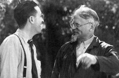 July 25, 1907:  Trotskyist and labor union leader Farrell Dobbs is born.  Dobbs was one of the principal leaders – along with the Dunne brothers and Carl Skoglund – of the Minneapolis Teamsters strike of 1934 and authored four books on the strike and the subsequent efforts that organized 250,000 truckers in the Midwest.  Dobbs went on to lead the Socialist Workers Party and serve as editor of its publication, The Militant.  (Photo:  Dobbs with Trotsky in Mexico.)