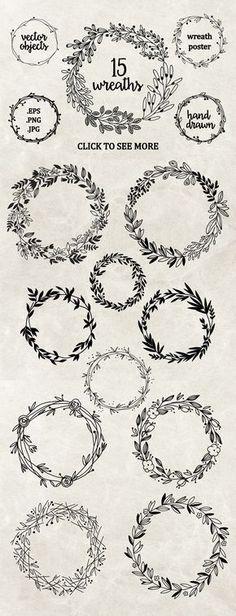 Hand drawn floral wreaths by Maria Galybina on @creativemarket