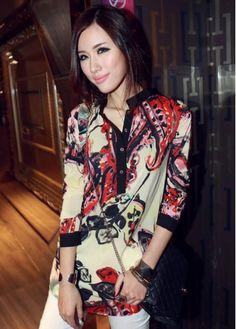 Sexy Mandarin Collar Long Sleeve Buttons Details Red Print Chiffon Blouse