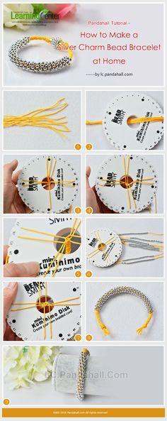 Pandahall Tutorial - How to Make a Silver Charm Kumihimo Bead Bracelet at Home Handmade Jewelry Tutorials, Jewelry Making Tutorials, Beading Tutorials, Handmade Beads, Handmade Jewellery, Handmade Silver, Earrings Handmade, Jewelry Patterns, Bracelet Patterns