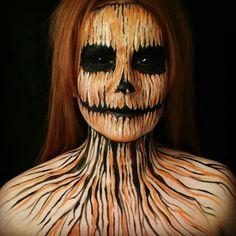 Evil-Scary Halloween Face Paint Ideas For Women pumpkin-evil-face-paint-makeup Halloween Face Paint Scary, Halloween Contacts, Halloween Looks, Halloween Cosplay, Scary Face Paint, Women Halloween, Halloween Costumes, Makeup Fx, Creepy Makeup