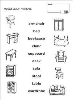 kids furniture Worksheets for learning English vocabulary Learn English Kid, Learning English For Kids, English Test, English Worksheets For Kids, English Lessons For Kids, Kids English, Teaching English, English Activities, 1st Grade Reading Worksheets