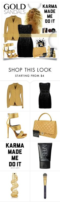 """Gold Sandals"" by stranjakivana ❤ liked on Polyvore featuring Tagliatore, Balmain, Mia Limited Edition, Chanel, NARS Cosmetics, Kilian, Estée Lauder and goldsandals"